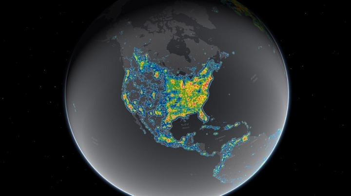 Shocking interactive map reveals full extent of light pollution on earth