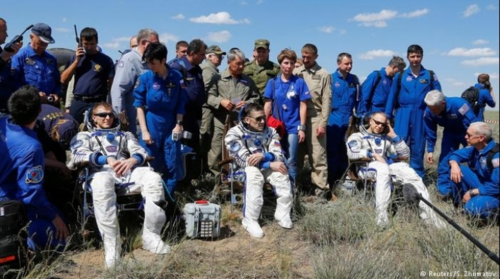 Back home. Astronauts from International Space Station land in Kazakhstan's steppe