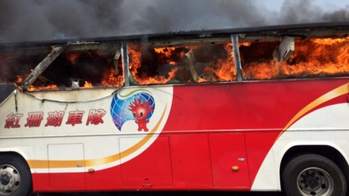 26 people died after a tour bus got on fire on highway near Taipei