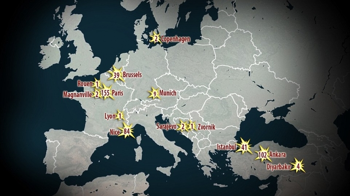 Shocking map shows 18 deadly terror attacks in last two years in Europe
