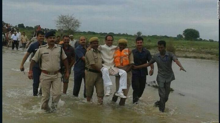 India minister Shivraj Singh Chouhan ridiculed for flood photo