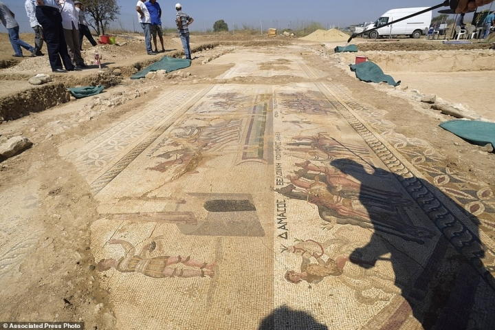 Mosaic floor illustrates scenes of ancient Roman chariot races in the hippodrome
