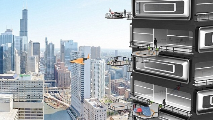 Tower blocks with mini landing strips for drones on their balconies