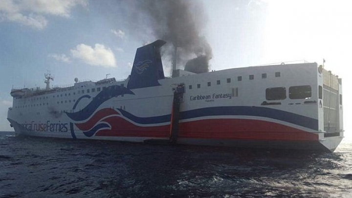 A ferry with 512 passengers and crew on board was caught on fire near Puerto Rico
