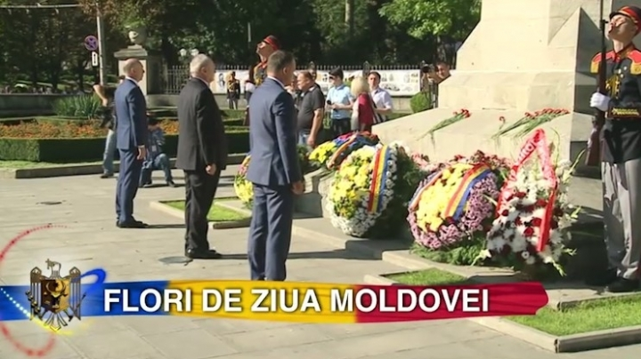 Flowers were put at monument of Stephen the Great and Grieving Mother monument