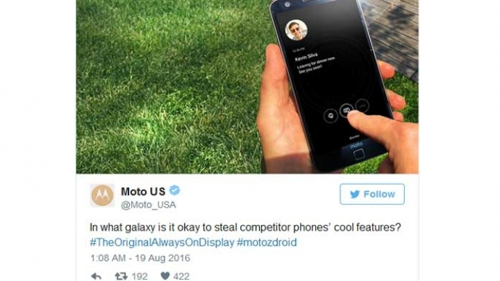 Motorola accuses Samsung of stealing its 'always-on display' feature