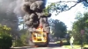 School bus bursts into flames when quick-thinking driver rescues all children
