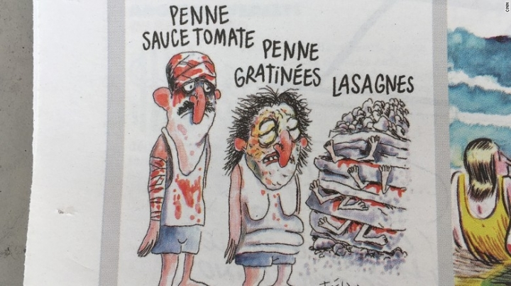 Charlie Hebdo slammed for cartoon on Italy earthquake victims
