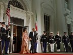 Michelle Obama stunning in custom-made Versace gown at Barack's last state dinner