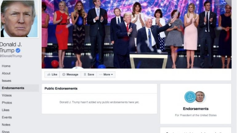 You can endorse your preferred presidential candidate on Facebook now