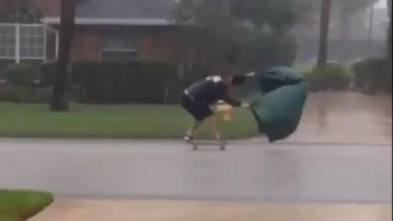 Florida man goes skateboarding in Hurricane Matthew