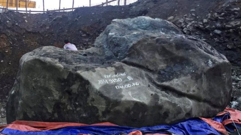 Giant jade stone worth 170 million dollars uncovered in northern Myanmar