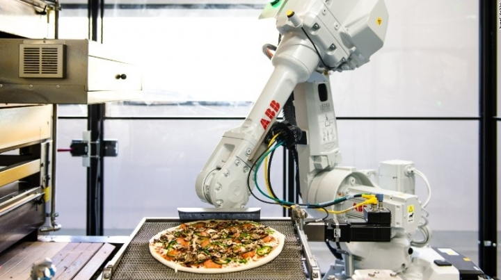 Pizza is brought to you faster, because it's cooked by robots