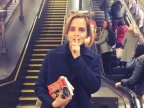 Harry Potter star Emma Watson leaves books on London Underground
