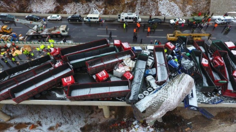 56-car pileup in China leaves 17 people dead and 37 injured