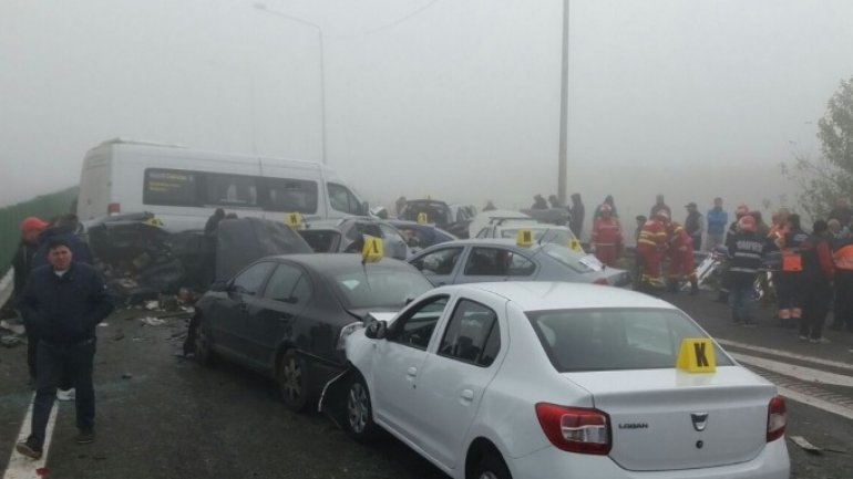 Three persons died, over 50 injured in huge pile up in Romania