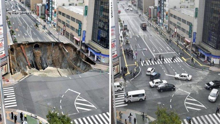 Japan fixes vast Fukuoka city sinkhole in two days