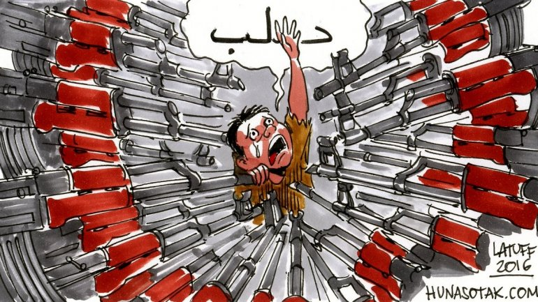 Cartoons reacting to situation in Aleppo (PHOTO)