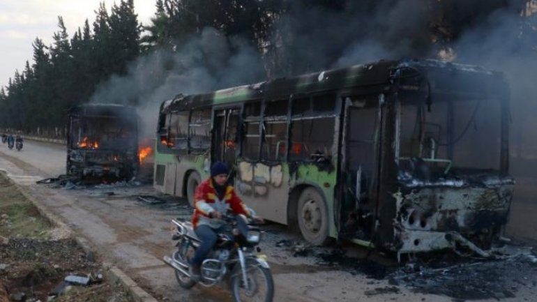 Buses attacked, burned on way to evacuate Syrian villages