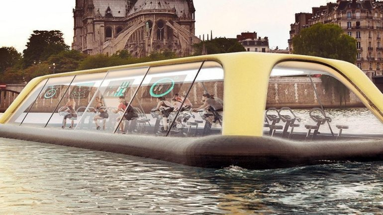 Floating Paris gym uses human energy to sail down Seine River
