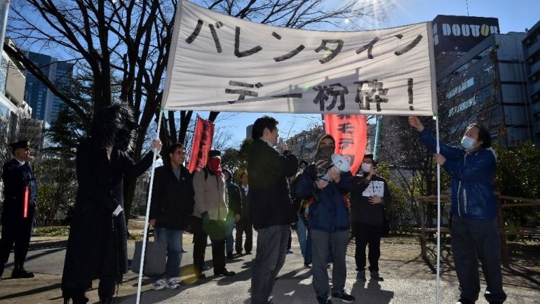 Japanese Marxist group marches against St Valentine's Day