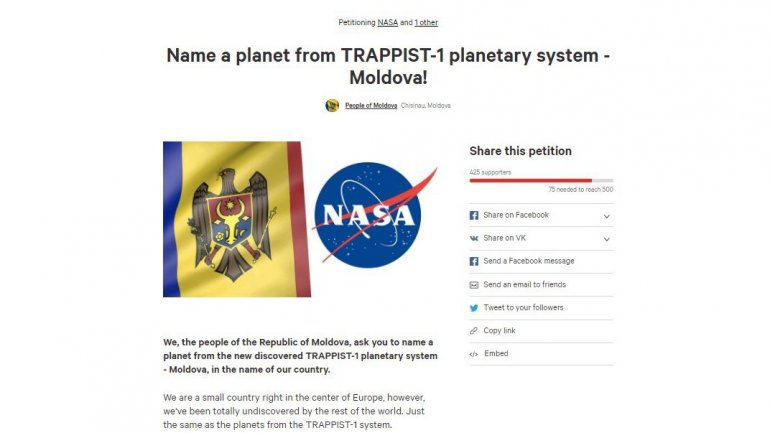 Petition to NASA: Name a planet from TRAPPIST-1 planetary system - MOLDOVA