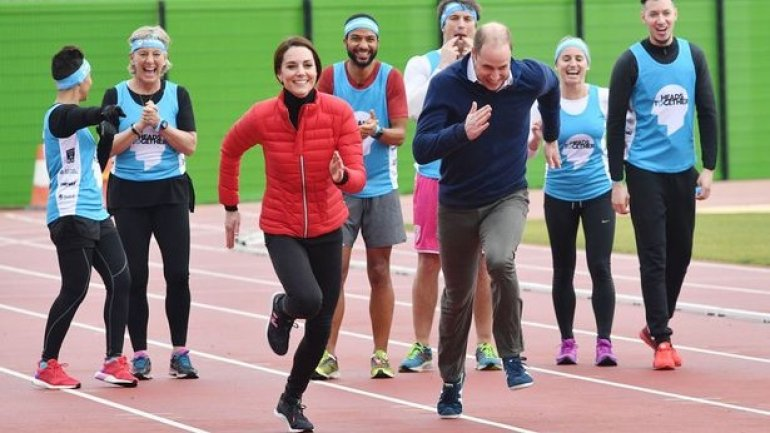 Duke and Duchess of Cambridge outsprinted by grinning Prince Harry as royals compete in London Marathon