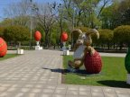 EASTER BUNNY is hopping around town, along with GIANT eggs, angels and flowers