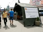 HUGE queues at anti-heat tents in Chisinau