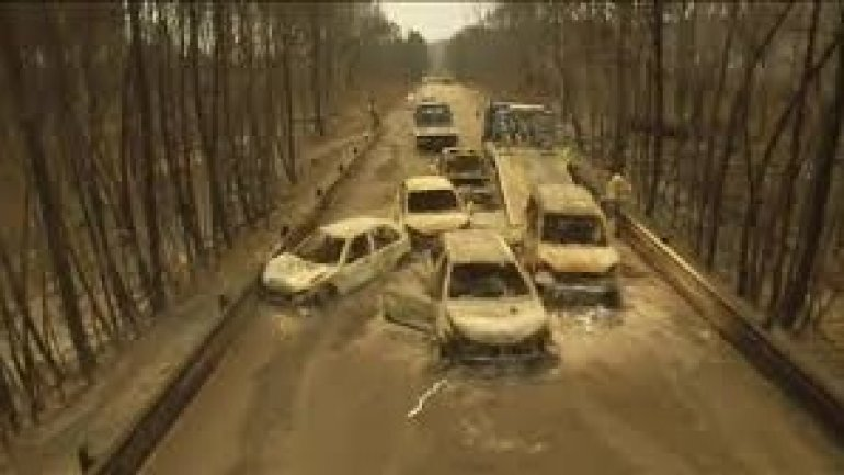 Portugal forest fire: Drone footage shows burnt-out cars (VIDEO)