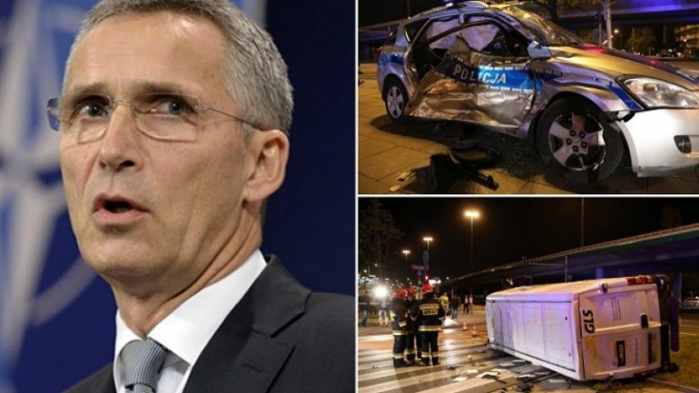 NATO Secretary General's convoy involved in car accident in Warsaw