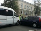 Accident in Capital. Minibus collided with a car