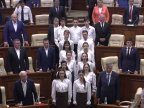 "Parliament session begun with national anthem ""Limba Noastră"" being sung"