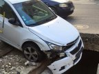 Careless driver ruined his car by falling in a pit dug out by Termoelectrica