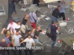 Groups clash in Barcelona, sending chairs flying on Independence Day (video)
