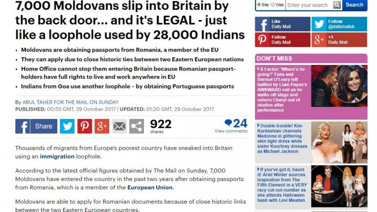 Daily Mail: 7,000 Moldovans legally sneak into Britain by law loophole