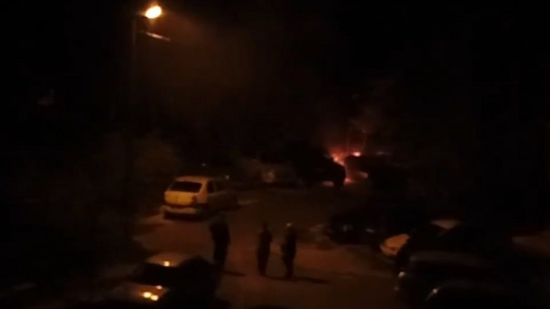 Car burst into flames at night time on Liviu Deleanu street