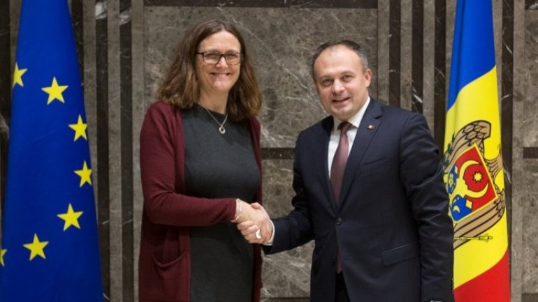 Parliament president Andrian candu met with European Commissioner for Trade Cecilia Malmstrom