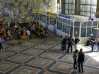 Bustling in Chisinau railway station. Winter holidays bring back families together
