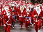Motorcyclists dressed up as Santa Clauses parading to cheer up capital