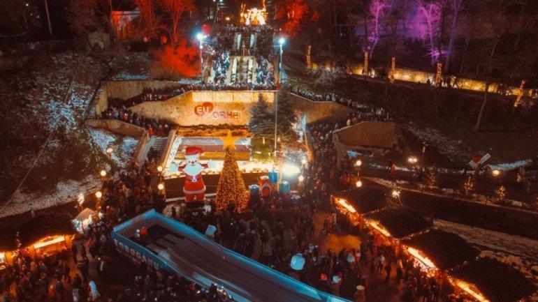 Winter Wonderland in Orhei. People are enjoying the Christmas Fair