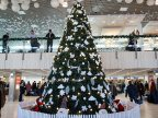 Christmas spirit at Chișinău International Airport. People are met with gifts and carols