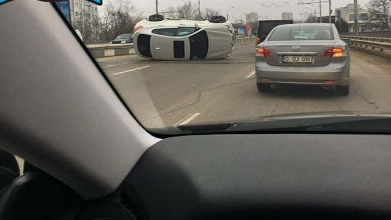 Accident on Viaduct. BMW X6 overturned