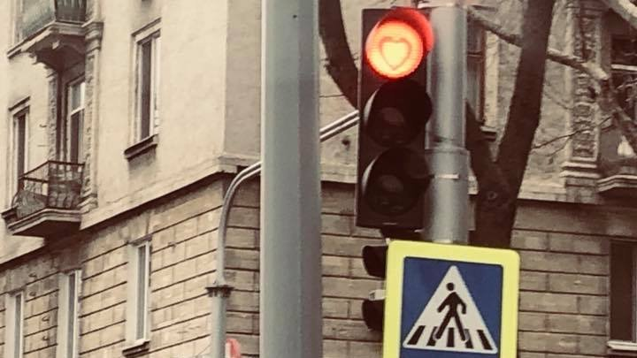 Capital to spread love on Valentine's Day. Heart shaped traffic lights on many intersections from Chisinau