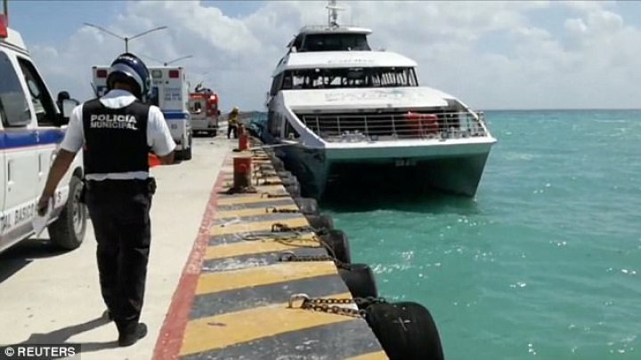 Ferry explosion in Mexico. At least 18 passengers injured