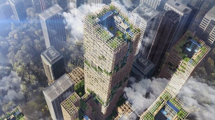 Japanese company planns to build world's tallest wooden skyscraper, to mark its 350th anniversary in 2041