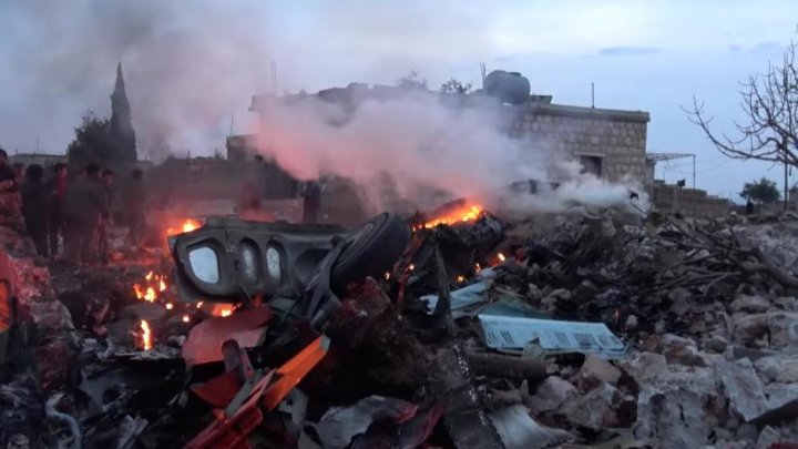 Russian warplane shot down by Syrian rebels. Pilot died fighting