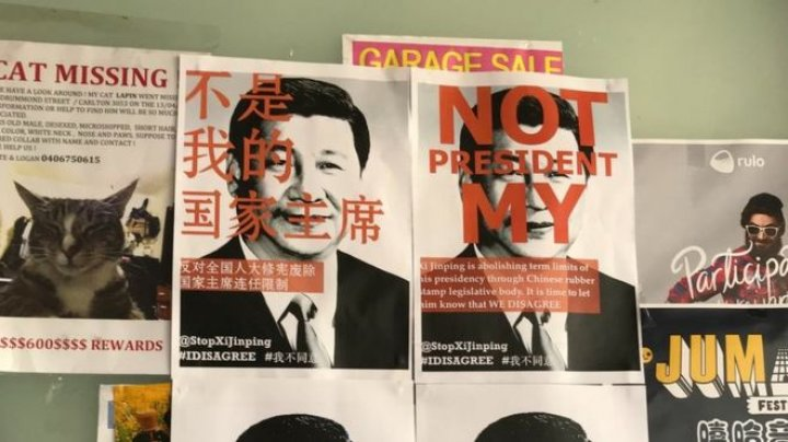 Anti - China's President posters written in Chinese and English appear Western universities