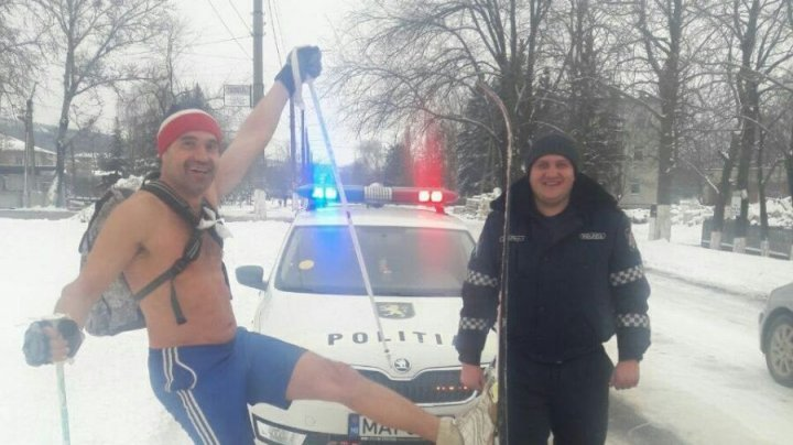 Moldovans fear no cold! Man caught walking around in shorts while it is -5 °C outside
