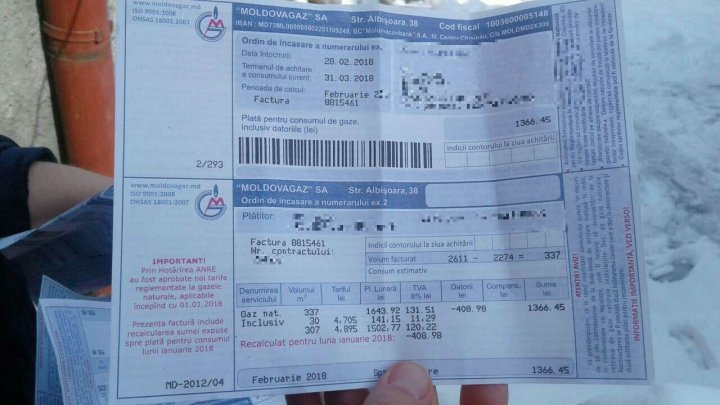 Moldovan consumers pay less for gas. First recalculated bills reached customers